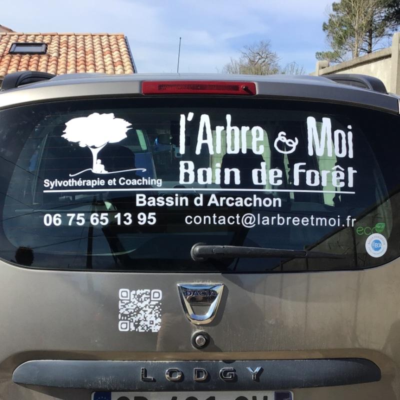 Lettrage et logo adhésif sur vitre arrière de voiture d'entreprise