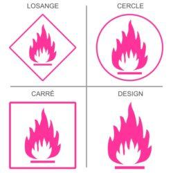 Sticker signalétique sécurité produits inflammables