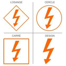 Sticker signalisation des risques de chocs électriques