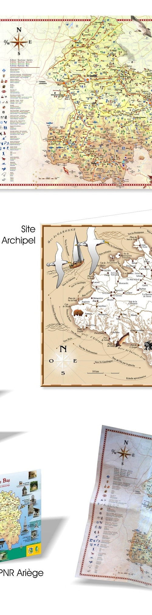 Travaux graphiques : Cartes touristiques, plans
