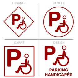 Sticker stationnement parking handicapés