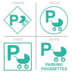 Sticker stationnement parking poussettes